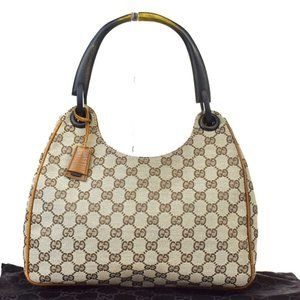 GUCCI GG Pattern Hobo Shoulder Bag Canvas Leather